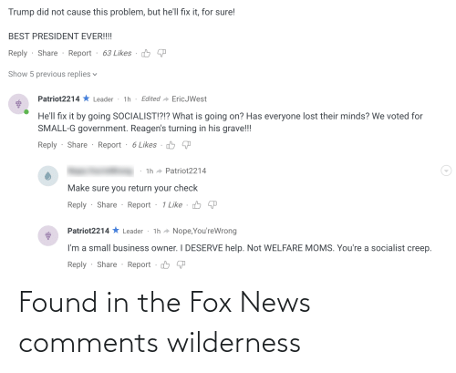 The Fox: Found in the Fox News comments wilderness