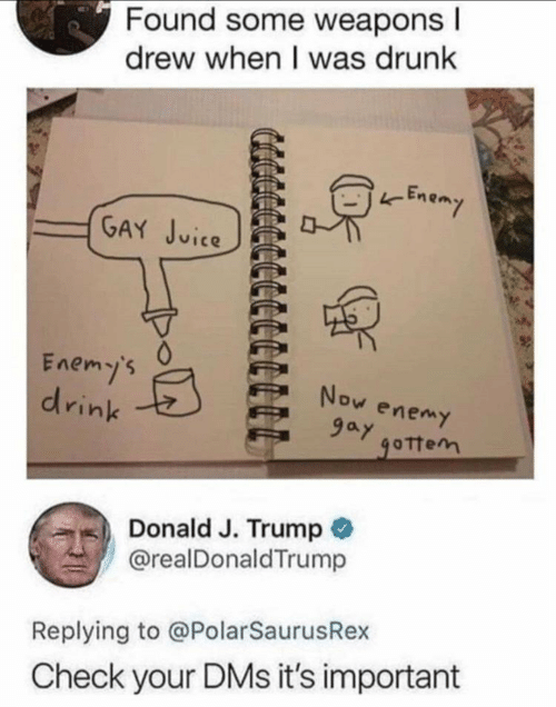 Drunk, Trump, and Vice: Found some weapons l  drew when I was drunk  Enen  vice  Enemy's  drinks  Now enemy  9ay  ottem  Donald J. Trump  @realDonaldTrump  Replying to @PolarSaurusRex  Check your DMs it's important
