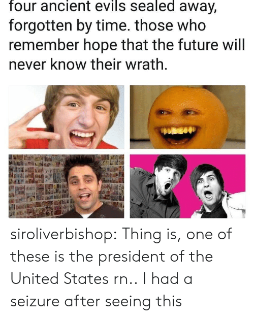 Hopee: four ancient evils sealed away,  forgotten by time. those who  remember hope that the future will  never know their wrath siroliverbishop:  Thing is, one of these is the president of the United States rn..  I had a seizure after seeing this