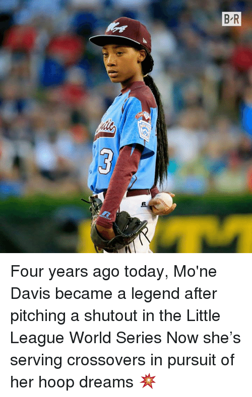 Today, World, and World Series: Four years ago today, Mo'ne Davis became a legend after pitching a shutout in the Little League World Series   Now she's serving crossovers in pursuit of her hoop dreams 💥