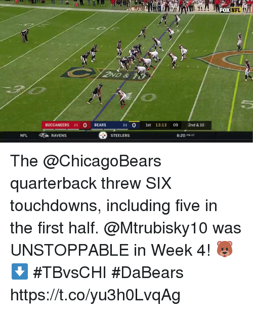 Memes, Nfl, and Bears: FOX  BUCCANEERS 2-1 O BEARS  21 0 1st 13:13 09 2nd & 10  NFL RAVENS  STEELERS  8:20 PM ET The @ChicagoBears quarterback threw SIX touchdowns, including five in the first half.  @Mtrubisky10 was UNSTOPPABLE in Week 4! 🐻⬇️ #TBvsCHI #DaBears https://t.co/yu3h0LvqAg