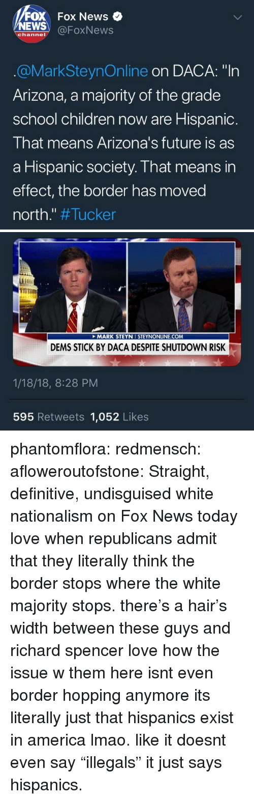 """Nationalism: FOX Fox News  NEWS @FoxNews  channel  @MarkSteynOnline on DACA: """"In  Arizona, a majority of the grade  school children now are Hispanic.  That means Arizona's future is as  a Hispanic society. That means in  effect, the border has moved  north."""" #Tucker   TOT  it  MARK STEYN I STEYNONLINE.COM  DEMS STICK BY DACA DESPITE SHUTDOWN RISK  1/18/18, 8:28 PM  595 Retweets 1,052 Likes phantomflora: redmensch:  afloweroutofstone: Straight, definitive, undisguised white nationalism on Fox News today love when republicans admit that they literally think the border stops where the white majority stops. there's a hair's width between these guys and richard spencer   love how the issue w them here isnt even border hopping anymore its literally just that hispanics exist in america lmao. like it doesnt even say """"illegals"""" it just says hispanics."""