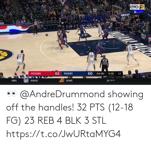 belle: FOX  GPORTS  GEICO  BELLE  TIRE  26  60  9:38  12  3rd Qtr  62  PACERS  PISTONS  NKE  10 PM ET  SUNS  KINGS  KaNGS  NBA 👀 @AndreDrummond showing off the handles!    32 PTS (12-18 FG)  23 REB 4 BLK 3 STL  https://t.co/JwURtaMYG4