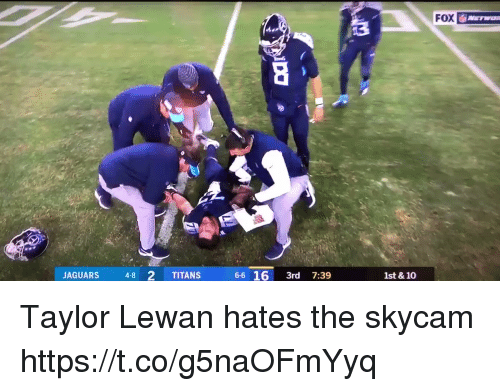 Football, Nfl, and Sports: FOX  JAGUARS 48 2 TITANS  6-6 16 3rd 7:39  1st & 10 Taylor Lewan hates the skycam https://t.co/g5naOFmYyq