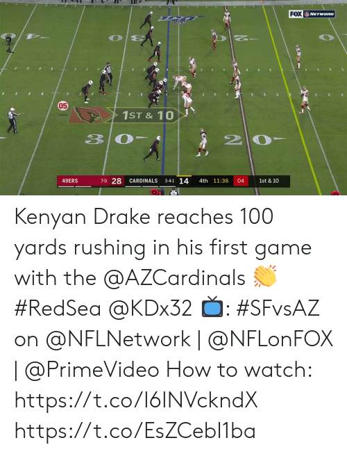 Reaches: FOX NETWORK  05  1ST&10  20  33  7-0 28  3-4-1 14  49ERS  CARDINALS  4th 11:36  04  1st & 10 Kenyan Drake reaches 100 yards rushing in his first game with the @AZCardinals 👏 #RedSea @KDx32  📺: #SFvsAZ on @NFLNetwork | @NFLonFOX | @PrimeVideo How to watch: https://t.co/I6INVckndX https://t.co/EsZCebI1ba