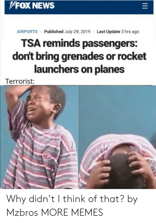 Fox News: FOX NEWS  AIRPORTS Published July 29, 2019 Last Update 3 hrs ago  TSA reminds passengers:  don't bring grenades or rocket  launchers on planes  Terrorist: Why didn't I think of that? by Mzbros MORE MEMES