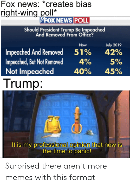 Memes, News, and Reddit: Fox news: *creates bias  right-wing poll*  FOX NEWS POLL  Should President Trump Be Impeached  And Removed From Office?  Now  July 2019  Impeached And Removed  Impeached, But Not Removed  Not Impeached  Trump:  42%  51%  4%  5%  40%  45%  13  13  It is my professional opinion that now is  the time to panic! Surprised there aren't more memes with this format