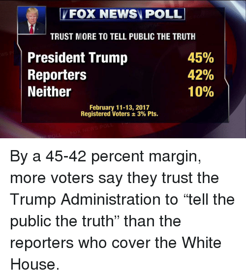 "Marginalize: FOX NEWSN POLL  TRUST MORE TO TELL PUBLIC THE TRUTH  45%  President Trump  42%  Reporters  10%  Neither  February 11-13, 2017  Registered Voters 3% Pts. By a 45-42 percent margin, more voters say they trust the Trump Administration to ""tell the public the truth"" than the reporters who cover the White House."