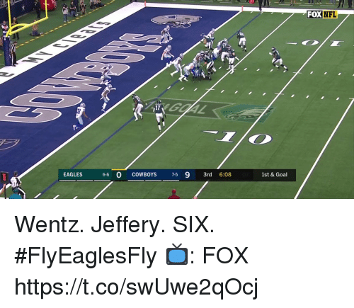Dallas Cowboys, Philadelphia Eagles, and Memes: FOX NFL  17  fe-  EAGLES 66 O COWBOYS 7-5 9 3rd 6:08  1st & Goal Wentz. Jeffery. SIX. #FlyEaglesFly  📺: FOX https://t.co/swUwe2qOcj