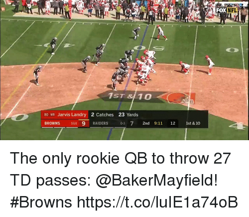 9/11, Memes, and Nfl: FOX  NFL  1ST & 10  80 WR Jarvis Landry 2 Catches 23 Yards  BROWNS 111 9 RAIDERS 03 7 2nd 9:11 12 1st & 10 The only rookie QB to throw 27 TD passes: @BakerMayfield!   #Browns https://t.co/luIE1a74oB