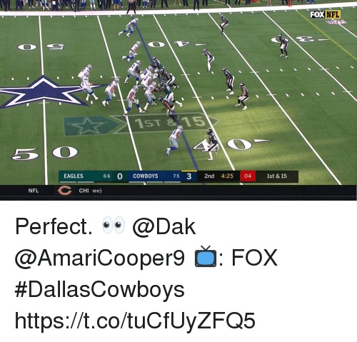 Dallas Cowboys, Philadelphia Eagles, and Memes: FOX  NFL  1ST 815  EAGLES 6-6 0 COWBOYS 7-5 3 2nd 4:25 04 1st & 15  NFL  CHI 1ee) Perfect. 👀 @Dak @AmariCooper9  📺: FOX #DallasCowboys https://t.co/tuCfUyZFQ5