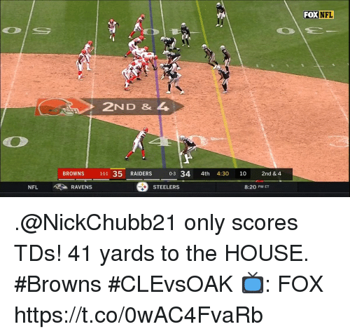 Memes, Nfl, and Browns: FOX  NFL  2ND & 4  BROWNS 111 35 RAIDERS 0-3 34 4th 4:30 10 2nd & 4  NFL  RAVENS  STEELERS  8:20 PM ET .@NickChubb21 only scores TDs!  41 yards to the HOUSE. #Browns #CLEvsOAK  📺: FOX https://t.co/0wAC4FvaRb