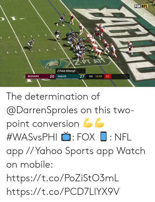 Philadelphia Eagles, Memes, and Nfl: FOX NFL  2PT ATT  2 Point Attempt  20  27  REDSKINS  EAGLES  4th 14:55  03  FARLE The determination of @DarrenSproles on this two-point conversion 💪💪  #WASvsPHI  📺: FOX 📱: NFL app // Yahoo Sports app  Watch on mobile: https://t.co/PoZiStO3mL https://t.co/PCD7LlYX9V