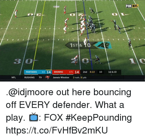 jameis winston: FOX NFL  3 O  PANTHERS 6 14 BROWNS  471 14 2nd 8:22 10 1st & 10  NFL  RUSHING T9 、se  Jameis Winston  2 rush, 31 yds .@idjmoore out here bouncing off EVERY defender.  What a play.  📺: FOX #KeepPounding https://t.co/FvHfBv2mKU