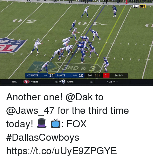 jaws: FOX  NFL  3RD & 3  COWBOYS 9-6 14 GIANTS  5-10 10 3rd 5:11 01 3rd & 3  NFL  49ERS  RAMS  4:25 PM ET  4-11  12-3 Another one!  @Dak to @Jaws_47 for the third time today! 🎩  📺: FOX #DallasCowboys https://t.co/uUyE9ZPGYE