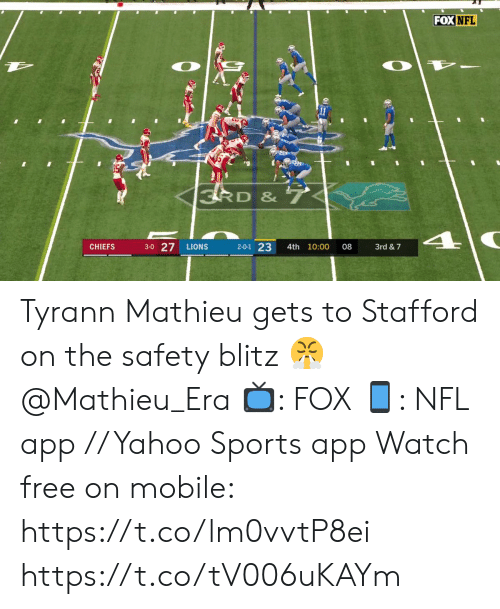Memes, Nfl, and Sports: FOX NFL  3RD & 7  3-0 27  2-0-1 23  CHIEFS  LIONS  4th 10:00  08  3rd &7 Tyrann Mathieu gets to Stafford on the safety blitz 😤 @Mathieu_Era  📺: FOX 📱: NFL app // Yahoo Sports app Watch free on mobile: https://t.co/lm0vvtP8ei https://t.co/tV006uKAYm