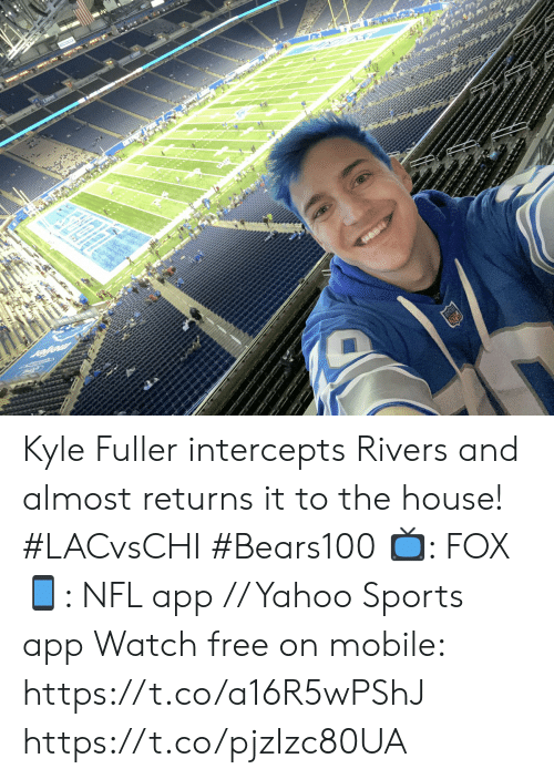 Returns: FOX NFL  3RD & 9  0  3-3 0  CHARGERS  :48  02  3rd & 9  2-5  BEARS  1st Kyle Fuller intercepts Rivers and almost returns it to the house! #LACvsCHI #Bears100  📺: FOX 📱: NFL app // Yahoo Sports app Watch free on mobile: https://t.co/a16R5wPShJ https://t.co/pjzIzc80UA