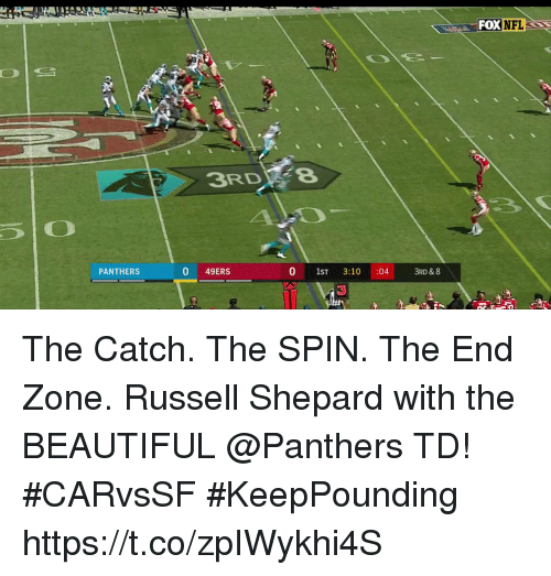 San Francisco 49ers, Beautiful, and Memes: FOX  NFL  3RDFe  PANTHERS  0 49ERS  0 1ST 3:10 :04  3RD & 8 The Catch. The SPIN. The End Zone.  Russell Shepard with the BEAUTIFUL @Panthers TD! #CARvsSF #KeepPounding https://t.co/zpIWykhi4S
