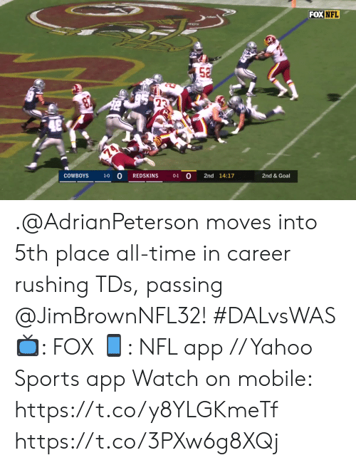 Dallas Cowboys, Memes, and Nfl: FOX NFL  52  23  74  COWBOYS  1-0 O  REDSKINS  0-1 0  2nd 14:17  2nd & Goal .@AdrianPeterson moves into 5th place all-time in career rushing TDs, passing @JimBrownNFL32! #DALvsWAS  📺: FOX 📱: NFL app // Yahoo Sports app Watch on mobile: https://t.co/y8YLGKmeTf https://t.co/3PXw6g8XQj