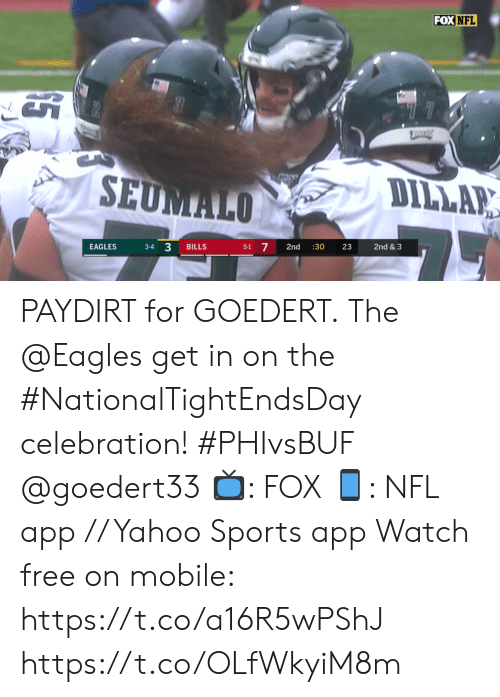 "the eagles: FOX NFL  ""77  TRRE  SEUMALO  DILLAR  3-4 3  5-1 7  EAGLES  BILLS  2nd  :30  23  2nd & 3 PAYDIRT for GOEDERT.  The @Eagles get in on the #NationalTightEndsDay celebration! #PHIvsBUF @goedert33   📺: FOX 📱: NFL app // Yahoo Sports app Watch free on mobile: https://t.co/a16R5wPShJ https://t.co/OLfWkyiM8m"