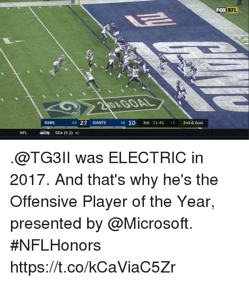 Memes, Microsoft, and Nfl: FOX  NFL  89  18  RAMS  52 27 GIANTS  NFL SEA (5-2) e) .@TG3II was ELECTRIC in 2017.  And that's why he's the Offensive Player of the Year, presented by @Microsoft. #NFLHonors https://t.co/kCaViaC5Zr