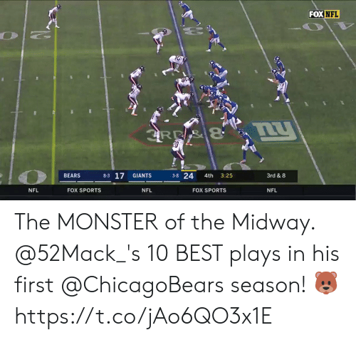 chicagobears: FOX NFL  BEARS  8-3 17  3-8 24 4th 3:25  3rd & 8  NFL  FOX SPORTS  NFL  FOX SPORTS  NFL The MONSTER of the Midway.   @52Mack_'s 10 BEST plays in his first @ChicagoBears season! 🐻 https://t.co/jAo6QO3x1E