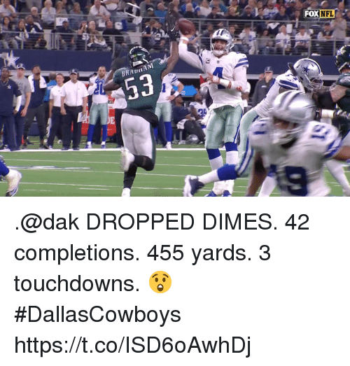 Memes, Nfl, and 🤖: FOX  NFL .@dak DROPPED DIMES.   42 completions.  455 yards.  3 touchdowns. 😲   #DallasCowboys https://t.co/ISD6oAwhDj