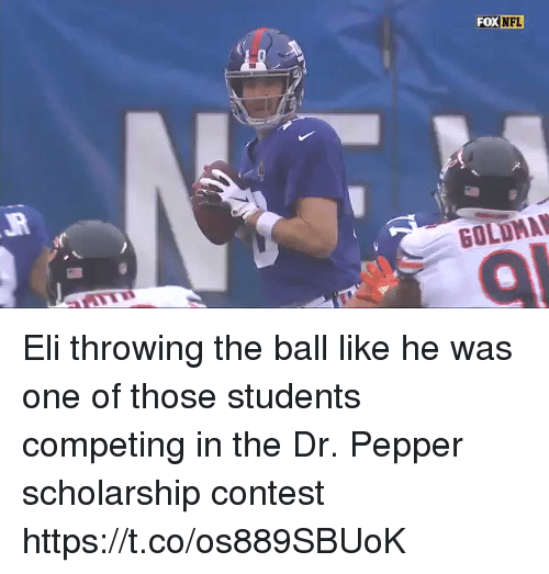 Football, Nfl, and Sports: FOX  NFL Eli throwing the ball like he was one of those students competing in the Dr. Pepper scholarship contest https://t.co/os889SBUoK
