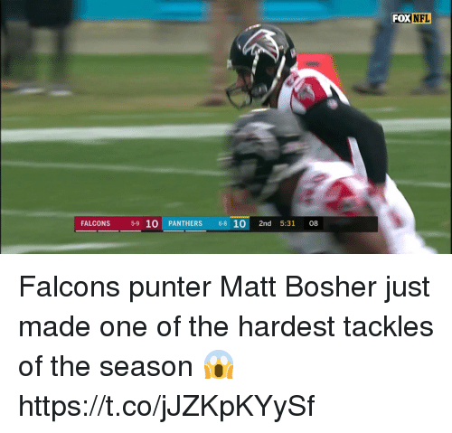 Memes, Nfl, and Falcons: FOX NFL  FALCONS 59 10 PANTHERS 68 102nd 5:31 08 Falcons punter Matt Bosher just made one of the hardest tackles of the season 😱 https://t.co/jJZKpKYySf