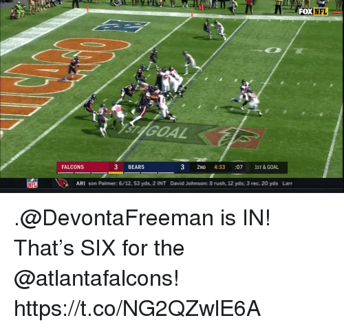 Memes, Nfl, and Bears: FOX NFL  GOAL  FALCONS  3 BEARS  3 2ND 4:33 :07 1ST&GOAL  ARI som Palimer: 6/12, 53 ydis, 2 INIT Dawid Joihmsomc 8 rusih, 12 ydis 3 rec, 20 ydis Lan .@DevontaFreeman is IN!  That's SIX for the @atlantafalcons! https://t.co/NG2QZwlE6A