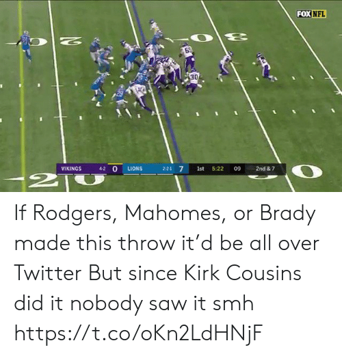 cousins: FOX NFL  N  30  4-2 O  VIKINGS  LIONS  2-2-1 7  1st  5:22  09  2nd & 7  2T If Rodgers, Mahomes, or Brady made this throw it'd be all over Twitter  But since Kirk Cousins did it nobody saw it smh https://t.co/oKn2LdHNjF