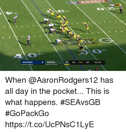 Foxe: FOX NFL  SEAHAWKS  0 PACKERS  0 2ND 2:38 :08 3RD & 16  3 When @AaronRodgers12 has all day in the pocket...  This is what happens. #SEAvsGB #GoPackGo https://t.co/UcPNsC1LyE