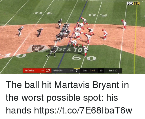 Nfl, Sports, and The Worst: FOX  NFL  ST & 10  BROWNS 111 17 RAIDERS 0-3 72nd 7:46 1O 1st & 10 The ball hit Martavis Bryant in the worst possible spot: his hands https://t.co/7E68IbaT6w