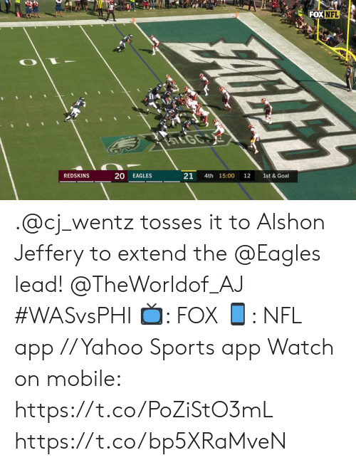 the eagles: FOX NFL  ST&GC  20  21  REDSKINS  EAGLES  4th 15:00  12  FAICILIH .@cj_wentz tosses it to Alshon Jeffery to extend the @Eagles lead!  @TheWorldof_AJ #WASvsPHI  📺: FOX 📱: NFL app // Yahoo Sports app  Watch on mobile: https://t.co/PoZiStO3mL https://t.co/bp5XRaMveN