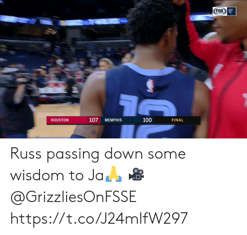 Houston: FOX  SPORTS  107  100  HOUSTON  MEMPHIS  FINAL Russ passing down some wisdom to Ja🙏  🎥 @GrizzliesOnFSSE  https://t.co/J24mlfW297