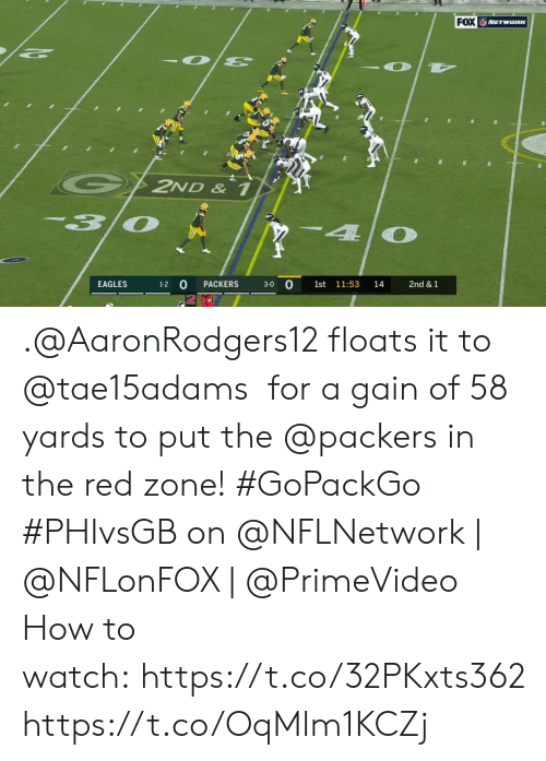 Philadelphia Eagles, Memes, and How To: FOX WETWORK  G2ND & 1  30  4  3-0 0  EAGLES  PACKERS  1st 11:53  14  2nd &1  1-2 .@AaronRodgers12 floats it to @tae15adams for a gain of 58 yards to put the @packers in the red zone! #GoPackGo  #PHIvsGB on @NFLNetwork | @NFLonFOX | @PrimeVideo How to watch:https://t.co/32PKxts362 https://t.co/OqMlm1KCZj