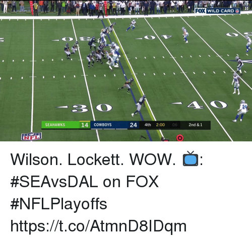 Dallas Cowboys, Memes, and Nfl: FOX  WILD CARD  24  SEAHAWKS  14 cowBOYS  24 4th 2:00  06  2nd & 1  NFL Wilson. Lockett. WOW.  📺: #SEAvsDAL on FOX #NFLPlayoffs https://t.co/AtmnD8IDqm