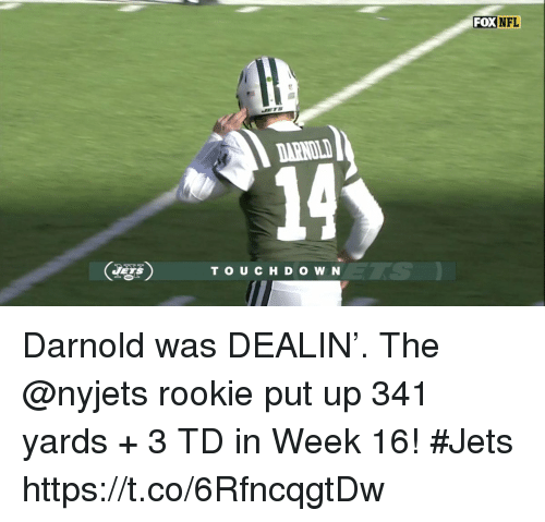 nyjets: FOXNFL  DARNOL  14  TS  TO UCHD O W N Darnold was DEALIN'.   The @nyjets rookie put up 341 yards + 3 TD in Week 16! #Jets https://t.co/6RfncqgtDw