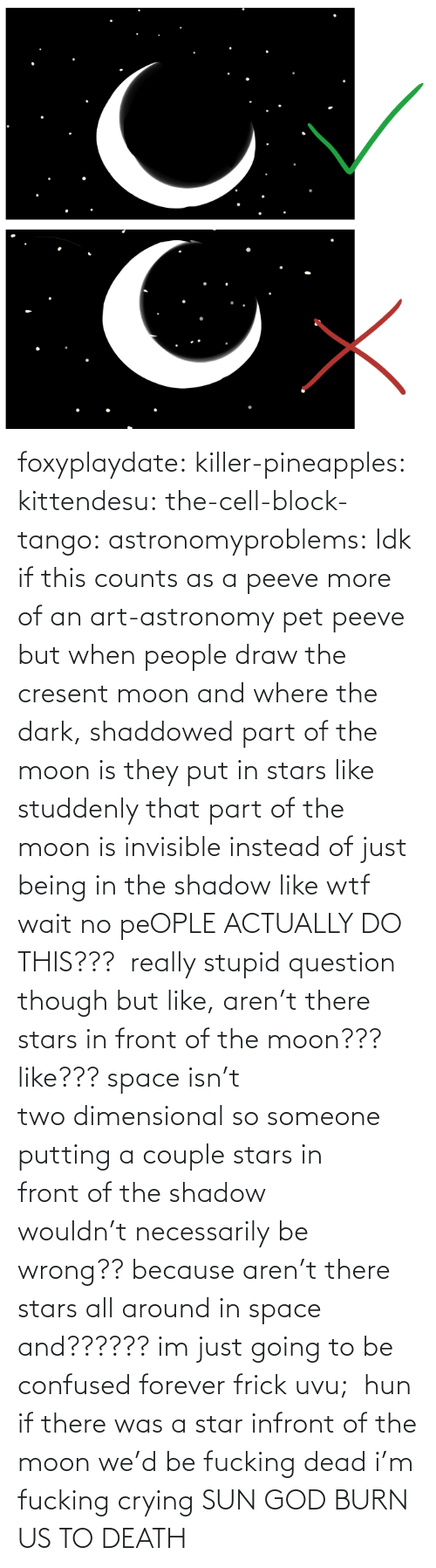 Forever: foxyplaydate: killer-pineapples:  kittendesu:  the-cell-block-tango:  astronomyproblems:  Idk if this counts as a peeve more of an art-astronomy pet peeve but when people draw the cresent moon and where the dark, shaddowed part of the moon is they put in stars like studdenly that part of the moon is invisible instead of just being in the shadow like wtf  wait no peOPLE ACTUALLY DO THIS???   really stupid question though but like, aren't there stars in front of the moon??? like??? space isn't two dimensional so someone putting a couple stars in front of the shadow wouldn't necessarily be wrong?? because aren't there stars all around in space and?????? im just going to be confused forever frick uvu;   hun if there was a star infront of the moon we'd be fucking dead  i'm fucking crying    SUN GOD BURN US TO DEATH