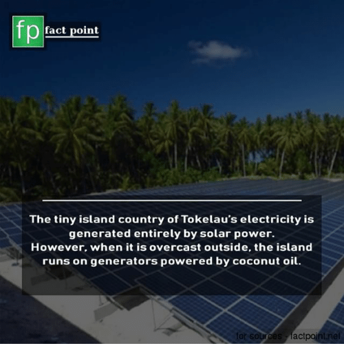 Coconut Oil: fp  fact point  The tiny island country of Tokelau's electricity is  generated entirely by solar power.  However. when it is overcast outside, the island  runs on generators powered by coconut oil  rces factpoint
