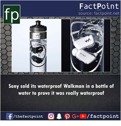 Memes, Sony, and Water: fp  FactPoint  source: factpoint.net  Sony sold its waterproof Walkman in a bottle of  water to prove it was really waterproof  f  /thefactpoint  G+  / factpoint