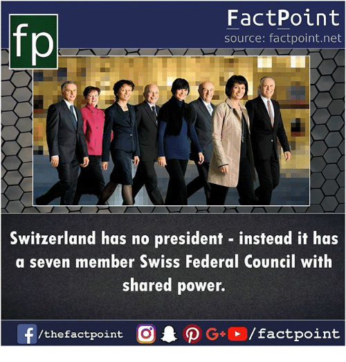 Memes, Power, and Switzerland: fp  FactPoint  source: factpoint.net  Switzerland has no president instead it has  a seven member Swiss Federal Council with  shared power.
