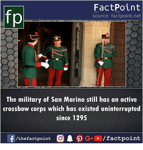 crossbow: fp  FactPoint  source: factpoint.net  The military of San Marino still has an active  crossbow corps which has existed uninterrupted  since 1295  f/thefactpoint  G+/factpoint