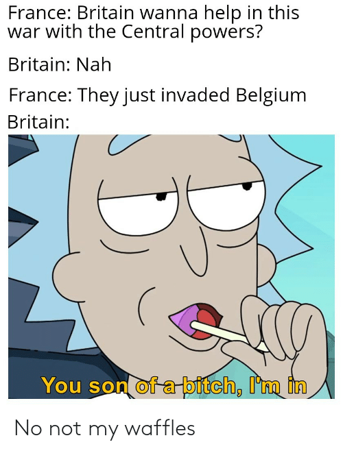 central powers: France: Britain wanna help in this  war with the Central powers?  Britain: Nah  France: They just invaded Belgium  Britain:  You son of a bitch, I'm in No not my waffles