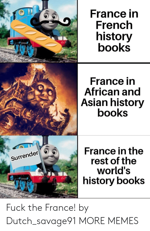 History: France in  French  history  books  France in  African and  Asian history  books  France in the  rest of the  world's  history books  Surrender Fuck the France! by Dutch_savage91 MORE MEMES