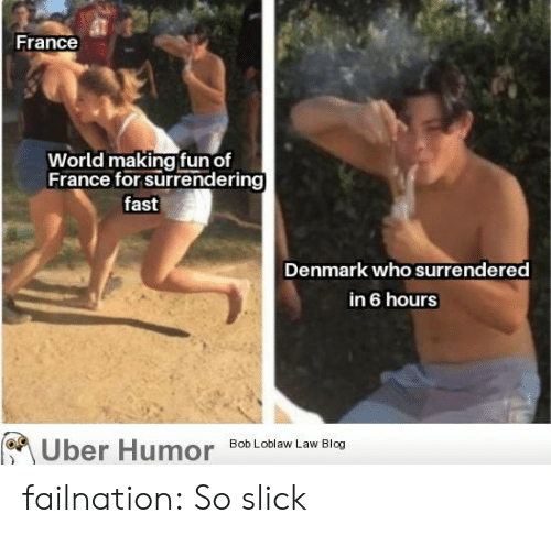 Slick: France  World making fun of  France for surrendering  fast  Denmark who surrendered  in 6 hours  Bob Loblaw Law Blog  Uber Humor failnation:  So slick