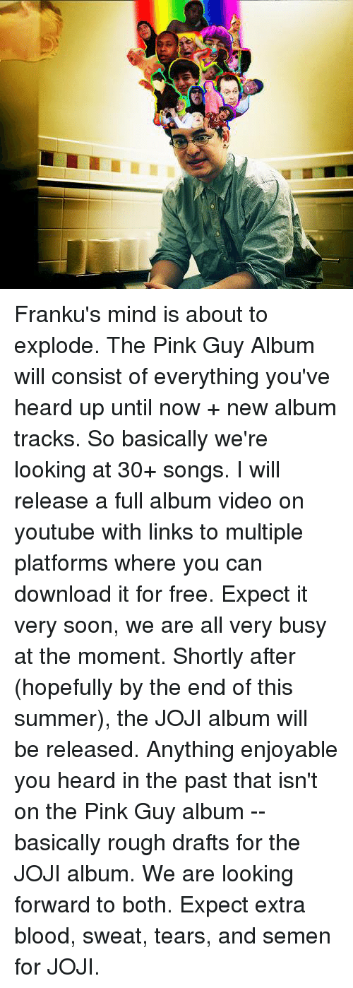Joji: Franku's mind is about to explode. The Pink Guy Album will consist of everything you've heard up until now + new album tracks. So basically we're looking at 30+ songs. I will release a full album video on youtube with links to multiple platforms where you can download it for free. Expect it very soon, we are all very busy at the moment. Shortly after (hopefully by the end of this summer), the JOJI album will be released. Anything enjoyable you heard in the past that isn't on the Pink Guy album -- basically rough drafts for the JOJI album. We are looking forward to both. Expect extra blood, sweat, tears, and semen for JOJI.