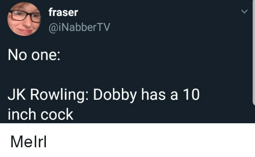 MeIRL, Jk Rowling, and Inch: fraser  @iNabberTV  No one:  JK Rowling: Dobby has a 10  inch cock MeIrl