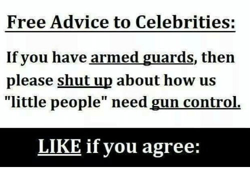 """Please Shut Up: Free Advice to Celebrities:  If you have armed guards, then  please shut up about how us  """"little people"""" need gun control.  LIKE if you agree:"""