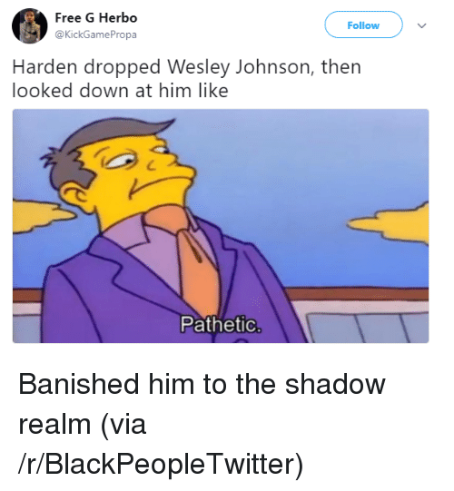Banished: Free G Herbo  @KickGamePropa  Follow  Harden dropped Wesley Johnson, thern  looked down at him like  Pathetic <p>Banished him to the shadow realm (via /r/BlackPeopleTwitter)</p>